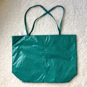 Saks Fifth Avenue Faux Snakeprint Teal Tote